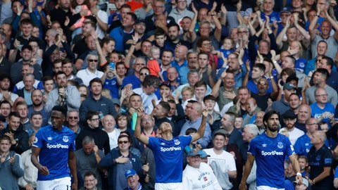 <p>               Everton's Richarlison, centre celebrates after scoring his side's third goal during the English Premier League soccer match between Everton and Wolverhampton Wanderers at Goodison Park in Liverpool, England, Sunday, Sept 1, 2019. (AP Photo/Rui Vieira)             </p>