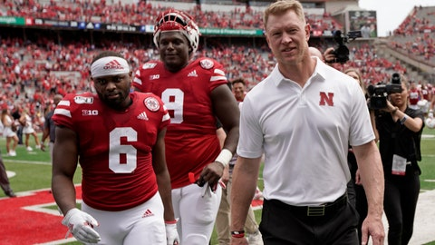 <p>               In this Aug. 31, 2019, photo, Nebraska safety Eric Lee Jr. (6) walks off the field next to head coach Scott Frost following an NCAA college football game against South Alabama, in Lincoln, Neb. Lee finally had his breakout game for Nebraska last week. The fifth-year senior safety saw his role increase against South Alabama when Deontai Williams went out with an injury. Lee ran back an interception for a touchdown and picked off another pass. This week he returns to his home state to play against Colorado. (AP Photo/Nati Harnik)             </p>