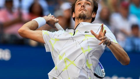 <p>               Daniil Medvedev, of Russia, serves to Stan Wawrinka, of Switzerland, during the quarterfinals of the US Open tennis championships Tuesday, Sept. 3, 2019, in New York. (AP Photo/Sarah Stier)             </p>