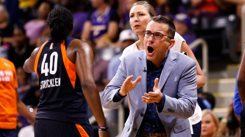 <p>               Connecticut Sun's head coach Curt Miller, right, greets his players during a timeout in the second half of Game 3 of a WNBA basketball playoff game against the Los Angeles Sparks, Sunday, Sept. 22, 2019, in Long Beach, Calf. (AP Photo/Ringo H.W. Chiu)             </p>