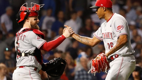 <p>               Cincinnati Reds catcher Tucker Barnhart and relief pitcher Raisel Iglesias celebrate the team's 4-2 win over the Chicago Cubs in a baseball game Tuesday, Sept. 17, 2019, in Chicago. (AP Photo/Charles Rex Arbogast)             </p>
