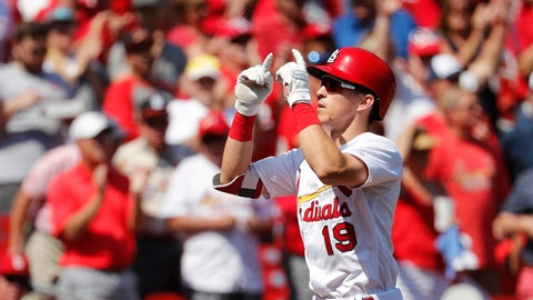 <p>               St. Louis Cardinals' Tommy Edman celebrates as he rounds the bases after hitting a solo home run during the third inning of a baseball game against the Washington Nationals Wednesday, Sept. 18, 2019, in St. Louis. (AP Photo/Jeff Roberson)             </p>