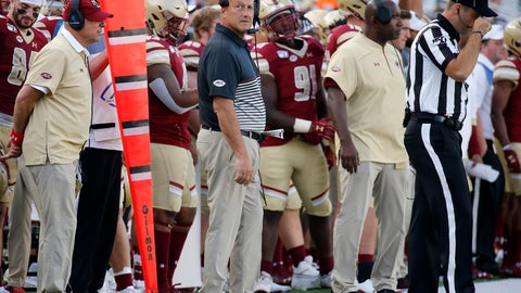 <p>               Boston College head coach Steve Addazio, center, looks on from the sideline during the second half of an NCAA college football game against Richmond, Saturday, Sept. 7, 2019, in Boston. (AP Photo/Mary Schwalm)             </p>