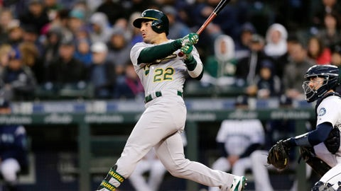 <p>               Oakland Athletics' Ramon Laureano hits a solo home run on a pitch from Seattle Mariners starting pitcher Marco Gonzales during the third inning of a baseball game, Saturday, Sept. 28, 2019, in Seattle. (AP Photo/John Froschauer)             </p>