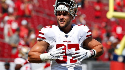 <p>               FILE - In this Sunday, Sept. 8, 2019, file photo, San Francisco 49ers defensive end Nick Bosa (97) warms up before an NFL football game against the Tampa Bay Buccaneers in Tampa, Fla. The rookie defensive end is not practicing as the 49ers began three days of workouts at Youngstown State. The No. 2 overall pick from Ohio State missed the entire preseason with a high ankle sprain, but played 39 total snaps and had a sack Sunday in San Francisco's 31-17 win at Tampa Bay. (AP Photo/Mark LoMoglio, File)             </p>