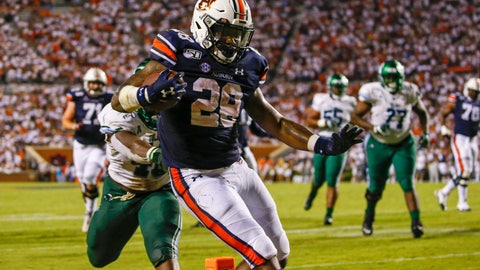 <p>               Auburn running back JaTarvious Whitlow (28) carries the ball in for a touchdown during the second half of the team's NCAA college football game against Tulane, Saturday, Sept. 7, 2019, in Auburn, Ala. (AP Photo/Butch Dill)             </p>