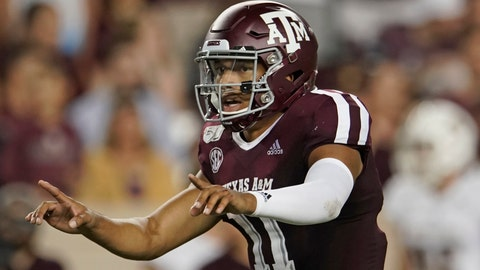 <p>               FILE - In this Aug. 29, 2019, file photo, Texas A&M's Kellen Mond (11) directs his team against Texas State during the second half of an NCAA college football game, in College Station, Texas.  Texas A&M gave Clemson one of its toughest tests during its run to the national championship last season, yet the Aggies enter the rematch as 17-point underdogs. (AP Photo/Chuck Burton, File)             </p>