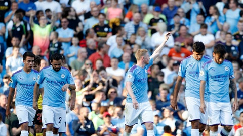 <p>               Manchester City's Kevin De Bruyne, center, celebrates after scoring his sides eighth goal during the English Premier League soccer match between Manchester City and Watford at Etihad stadium in Manchester, England, Saturday, Sept. 21, 2019. (AP Photo/Rui Vieira)             </p>