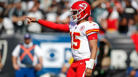 <p>               Kansas City Chiefs quarterback Patrick Mahomes calls out a play during the second half of an NFL football game against the Oakland Raiders Sunday, Sept. 15, 2019, in Oakland, Calif. (AP Photo/D. Ross Cameron)             </p>