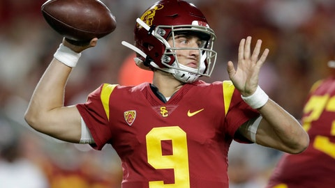<p>               Southern California quarterback Kedon Slovis throws a pass against Stanford during the first half of an NCAA college football game Saturday, Sept. 7, 2019, in Los Angeles. (AP Photo/Marcio Jose Sanchez)             </p>