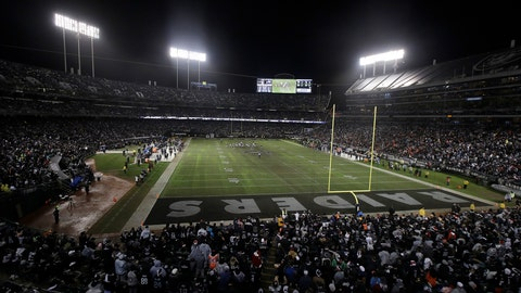 <p>               FILE - In this Dec. 24, 2018, file photo, fans watch from a general view at Oakland Alameda County Coliseum during the second half of an NFL football game between the Oakland Raiders and the Denver Broncos in Oakland, Calif. It will be the end of an era of sorts this weekend in Oakland. Not that anyone figures to be mourning what should be the final NFL game ever played on a field with infield dirt, especially the players who have had to deal with the bad footing, ripped jerseys, scraped arms and legs and hard falls onto a surface with no cushion. (AP Photo/Jeff Chiu, File)             </p>