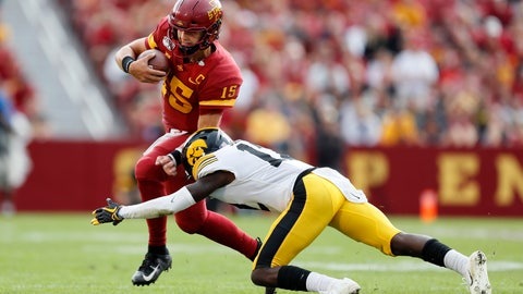 <p>               Iowa State quarterback Brock Purdy (15) is tackled by Iowa defensive back D.J. Johnson, right, during the first half of an NCAA college football game, Saturday, Sept. 14, 2019, in Ames, Iowa. (AP Photo/Charlie Neibergall)             </p>