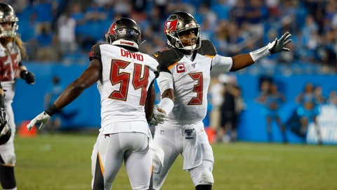 <p>               Tampa Bay Buccaneers outside linebacker Lavonte David (54) and quarterback Jameis Winston (3) celebrate following the team's 20-14 win over the Carolina Panthers following an NFL football game in Charlotte, N.C., Friday, Sept. 13, 2019. (AP Photo/Brian Blanco)             </p>