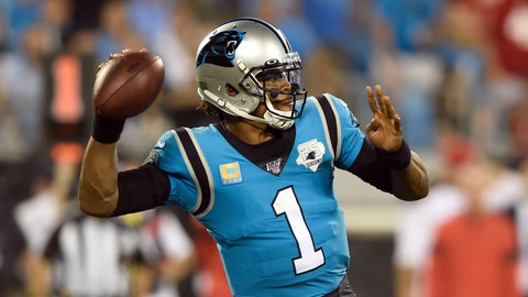 <p>               Carolina Panthers quarterback Cam Newton (1) passes against the Tampa Bay Buccaneers during the second half of an NFL football game in Charlotte, N.C., Thursday, Sept. 12, 2019. (AP Photo/Mike McCarn)             </p>