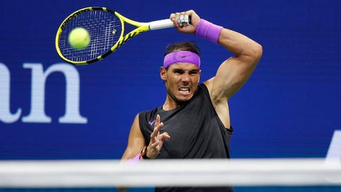 <p>               Rafael Nadal, of Spain, returns a shot to Marin Cilic, of Croatia, during the fourth round of the U.S. Open tennis tournament, Monday, Sept. 2, 2019, in New York. (AP Photo/Jason DeCrow)             </p>