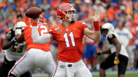 <p>               Florida quarterback Kyle Trask (11) throws a pass during the first half of an NCAA college football game against Towson, Saturday, Sept. 28, 2019, in Gainesville, Fla. (AP Photo/John Raoux)             </p>
