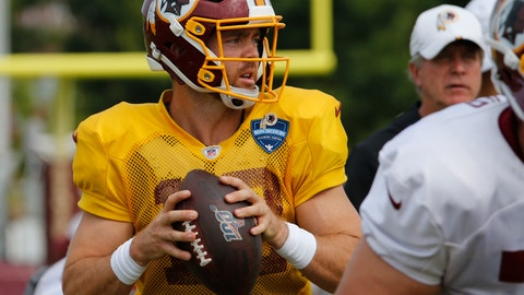 <p>               FILE - In this Monday, Aug. 5, 2019 file photo, Washington Redskins quarterback Colt McCoy (12) looks for a receiver during the Washington Redskins NFL football training camp in Richmond, Va. Case Keenum's foot injury could put him in danger of starting at quarterback for the Washington Redskins on Sunday, Sept. 29, 2019 at the New York Giants. If Keenum can't play, the 0-3 Redskins will either turn to Colt McCoy or ask first-round pick Dwayne Haskins to make his NFL debut. (AP Photo/Steve Helber, File)             </p>