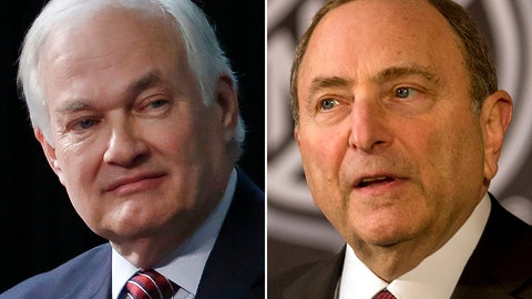 <p>               FILE - At left, in a 2015 file photo, is NHL Players Association executive director Donald Fehr. At right, in a 2018 file photo, is NHL commissioner Gary Bettman. No news getting out seems to be good news as the NHL and NHL Players' Association discuss a potential extension of the collective bargaining agreement. With the players' Sept. 15 deadline to decide whether to reopen the CBA fast-approaching, dialogue between the two sides continues to be cordial, professional and constructive _ a drastic change from previous labor talks in a sport that has become known for periodic work stoppages. (AP Photo/File)             </p>