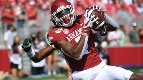 <p>               Arkansas receiver Trey Knox makes a touchdown catch in front of a Colorado State defender during the first half of an NCAA college football game, Saturday, Sept. 14, 2019, in Fayetteville, Ark. (AP Photo/Michael Woods)             </p>