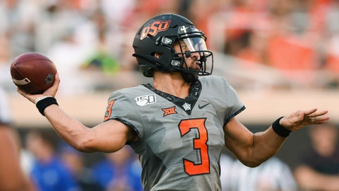 <p>               Oklahoma State starting quarterback Spencer Sanders throws a pass during the first half of the team's NCAA college football game against McNeese State in Stillwater, Okla., Saturday, Sept. 7, 2019. (AP Photo/Brody Schmidt)             </p>