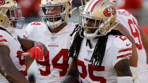 <p>               San Francisco 49ers cornerback Richard Sherman (25) celebrates with his teammates after his touchdown against the Tampa Bay Buccaneers during the second half an NFL football game, Sunday, Sept. 8, 2019, in Tampa, Fla. (AP Photo/Chris O'Meara)             </p>