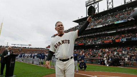 <p>               FILE - In this April 5, 2019, file photo, San Francisco Giants manager Bruce Bochy tips his cap to the crowd during introductions before the team's baseball game against the Tampa Bay Rays in San Francisco. Just as important to Bochy as capturing those three World Series titles in five years managing the Giants is his fairness and genuine way in dealing with the players who have helped him win during a decorated career on the dugout's top step. Everybody wants to do their best for the 64-year-old Bochy as he wraps up an accomplished 25-year managerial career that featured his first 12 seasons in San Diego and the last 13 with San Francisco. (AP Photo/Eric Risberg, File)             </p>