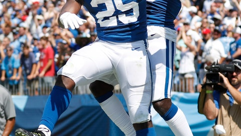 <p>               Indianapolis Colts wide receiver Parris Campbell, right, celebrates with running back Marlon Mack (25) after Campbell caught a touchdown pass against the Tennessee Titans in the first half of an NFL football game Sunday, Sept. 15, 2019, in Nashville, Tenn. (AP Photo/Wade Payne)             </p>