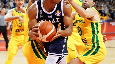 <p>               Giannis Antetokounmpo of Greece looks to pass around Vitor Benite of Brazil during their group stage match in the FIBA Basketball World Cup in Nanjing in eastern China's Jiangsu province, Tuesday, Sept. 3, 2019. (Chinatopix via AP)             </p>
