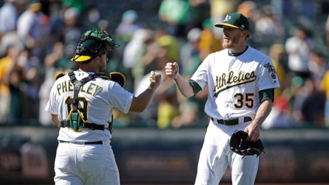 <p>               Oakland Athletics' Jake Diekman, right, celebrates with catcher Josh Phegley, left, at the end of a baseball game against the Los Angeles Angels, Thursday, Sept. 5, 2019, in Oakland, Calif. (AP Photo/Ben Margot)             </p>