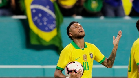 <p>               Brazil forward Neymar reacts after scoring a goal during the second half of a friendly soccer match against Colombia, Friday, Sept. 6, 2019, in Miami Gardens, Fla. (AP Photo/Lynne Sladky)             </p>