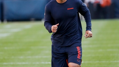 <p>               Chicago Bears' Trey Burton warms up before an NFL football game against the Green Bay Packers Thursday, Sept. 5, 2019, in Chicago. (AP Photo/Charles Rex Arbogast)             </p>