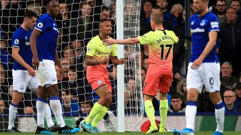 <p>               Manchester City's Gabriel Jesus, centre, celebrates scoring his side's first goal of the game against Everton during their English Premier League soccer match at Goodison Park in Liverpool, England, Saturday Sept. 28, 2019. (Peter Byrne/PA via AP)             </p>