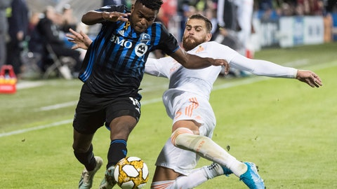 <p>               Montreal Impact's Orji Okwonkwo, left, challenges Atlanta United's Leandro Gonzalez Pirez during second half MLS soccer action in Montreal, Sunday, Sept. 29, 2019. (Graham Hughes/The Canadian Press via AP)             </p>