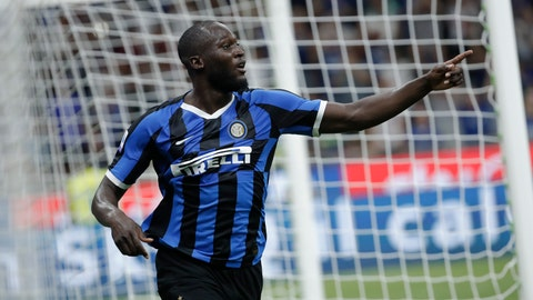 <p>               FILE - In this file photo taken on Aug. 26, 2019, Inter Milan's Romelu Lukaku celebrates after scoring his side's third goal during the Serie A soccer match between Inter Milan and Lecce at the San Siro stadium, in Milan, Italy. Lukaku left Manchester United for Inter Milan; of the 79 foreigners who joined Serie A in the recently concluded transfer window, 10 came from the English Premier League _ more than any other league. (AP Photo/Luca Bruno)             </p>