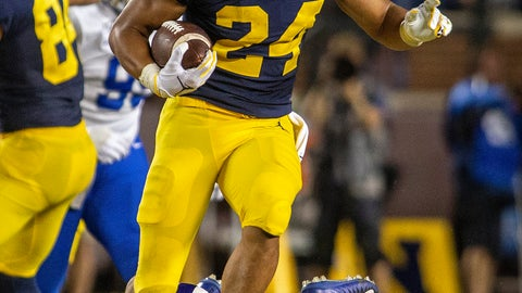 <p>               Michigan running back Zach Charbonnet (24) avoids Middle Tennessee safety Jovante Moffatt (7) to rush 40 yards during the fourth quarter of an NCAA football game in Ann Arbor, Mich., Saturday, Aug. 31, 2019. Michigan won 40-21. (AP Photo/Tony Ding)             </p>