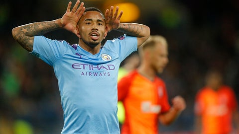 <p>               Manchester City's Gabriel Jesus celebrates after scoring his side's third goal during the Group C Champions League soccer match between Manchester City and FC Shakhtar Donetsk in Kharkiv, Ukraine, Wednesday, Sept. 18, 2019. (AP Photo/Efrem Lukatsky)             </p>