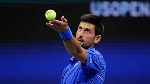 <p>               Novak Djokovic, of Serbia, tosses the ball on a serve to Denis Kudla, of the United States, during the third round of the U.S. Open tennis tournament Friday, Aug. 30, 2019, in New York. (AP Photo/Charles Krupa)             </p>