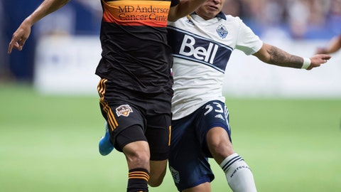 <p>               Houston Dynamo's Jose Bizama, left, and Vancouver Whitecaps' Michaell Chirinos vie for the ball during the first half of an MLS soccer game in Vancouver, on Saturday Sept. 14, 2019. (Darryl Dyck/The Canadian Press via AP)             </p>