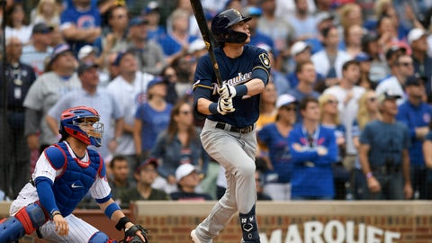 <p>               Milwaukee Brewers' Christian Yelich watches his three-run home run during the ninth inning of a baseball game against the Chicago Cubs Sunday, Sept. 1, 2019, in Chicago. (AP Photo/Paul Beaty)             </p>