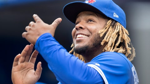 <p>               Toronto Blue Jays' Vladimir Guerrero Jr. gestures to fans during a baseball game against the Tampa Bay Rays in Toronto, Sunday, Sept. 29, 2019. (Fred Thornhill/The Canadian Press via AP)             </p>