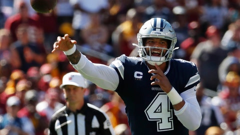 <p>               Dallas Cowboys quarterback Dak Prescott (4) passes downfield during the second half of an NFL football game, Sunday, Sept. 15, 2019, in Landover, Md. (AP Photo/Alex Brandon)             </p>
