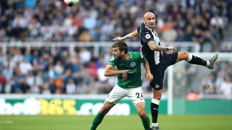 <p>               Brighton and Hove Albion's Davy Propper, left, and Newcastle United's Jonjo Shelvey battle for the ball during the English Premier League match at St James' Park, Newcastle, England, Saturday Sept. 21, 2019. (Owen Humphreys/PA via AP)             </p>