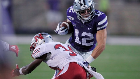 <p>               Kansas State wide receiver Landry Weber (12) avoids a tackle by Nicholls State defensive back Khristian Mims (34) during the second half of an NCAA college football game in Manhattan, Kan., Saturday, Aug. 31, 2019. (AP Photo/Orlin Wagner)             </p>