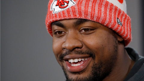 <p>               FILE - In this Jan. 18, 2019, file photo, Kansas City Chiefs defensive end Chris Jones talks to the media after a workout in Kansas City, Mo. Chris Jones tried to keep a straight face, answer the reporter's question in a serious manner. But standing behind him on a chair was defensive tackle Derrick Nnadi, all 330 pounds of him, flexing and jiggling and gyrating. The Chiefs defensive tackle finally cracked. This is life in the Kansas City locker room.(AP Photo/Charlie Riedel, File)             </p>