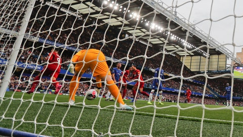 <p>               Liverpool's Roberto Firmino celebrates after scoring his side's second goal during the British Premier League soccer match between Chelsea and Liverpool, at the Stamford Bridge Stadium, London, Sunday, Sept. 22, 2019. (AP Photo/Frank Augstein)             </p>