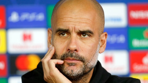 <p>               Manchester City's coach Pep Guardiola attends a press conference ahead of the Group C Champions League soccer match between Manchester City and FC Shakhtar Donetsk in Kharkiv, Ukraine, Tuesday, Sept. 17, 2019. (AP Photo/Efrem Lukatsky)             </p>