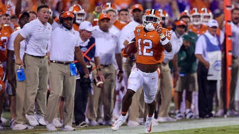 <p>               Clemson's K'Von Wallace races down the sideline for a touchdown with an interception during the first half of the team's NCAA college football game against Charlotte on Saturday, Sept. 21, 2019, in Clemson, S.C. (AP Photo/Richard Shiro)             </p>
