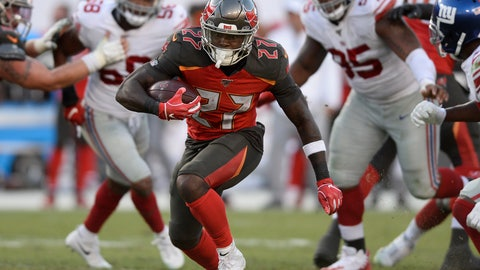 <p>               Tampa Bay Buccaneers running back Ronald Jones (27) runs against the New York Giants during the second half of an NFL football game Sunday, Sept. 22, 2019, in Tampa, Fla. (AP Photo/Jason Behnken)             </p>