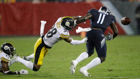 <p>               Pittsburgh Steelers defensive back Kam Kelly (38) forces a fumble by Tennessee Titans wide receiver A.J. Brown (11) in the first half of a preseason NFL football game Sunday, Aug. 25, 2019, in Nashville, Tenn. Brown recovered the ball on the play. (AP Photo/James Kenney)             </p>