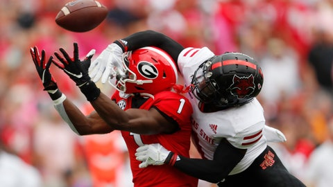 <p>               Arkansas State cornerback Jerry Jacobs, right, breaks up a pass intended for Georgia wide receiver George Pickens, left, in the first half of an NCAA college football game Saturday, Sept. 14, 2019, in Athens, Ga. (AP Photo/John Bazemore)             </p>